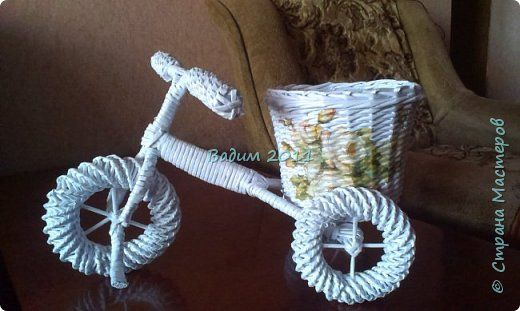 Поделка изделие Плетение Плетение из бумажной лозы Бумага фото 1