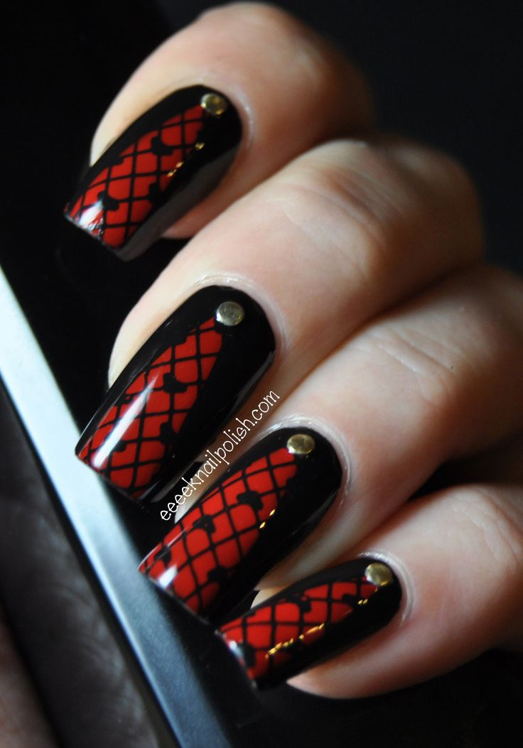 Requires base, red, black, gold, top coat. You can use lace to stamp the pattern or draw the lines individually. Use gold to add embellishments. Key to success is choosing the right design for your lace pattern.