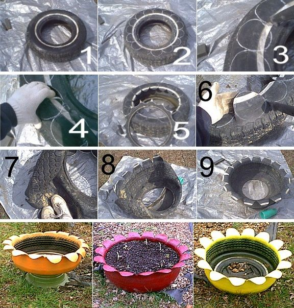 I have to admit, I find these recycled tire planters charming. Planting containers made from tires are pretty easy to make and cost almost nothing. Since it costs to dispose of tires, getting a few used wheels from a local auto shop should be a snap.
