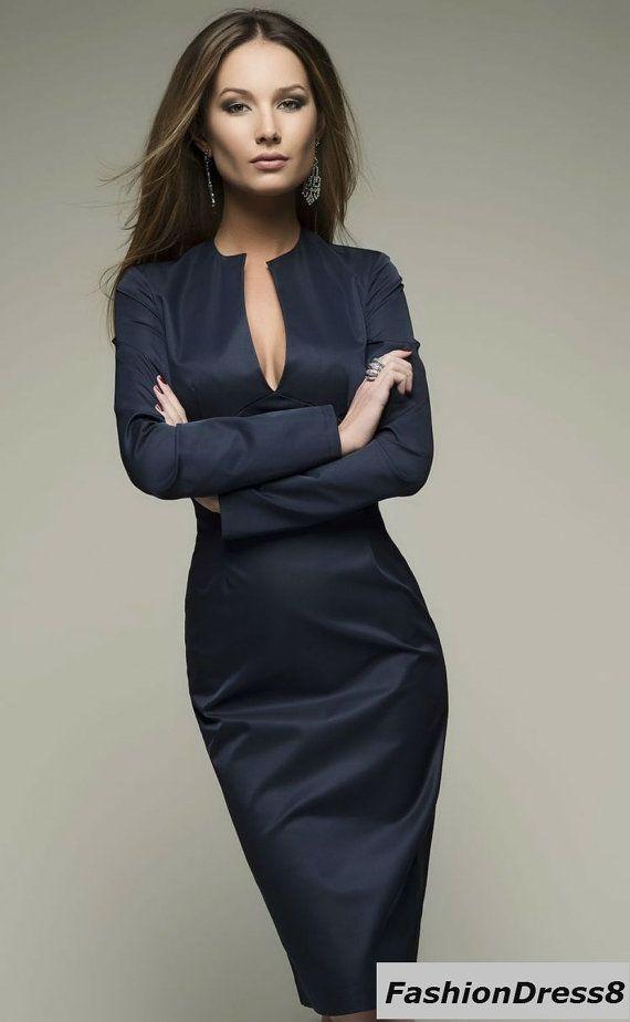 Crayon de robe bleu foncé longueur genou par FashionDress8 sur Etsy