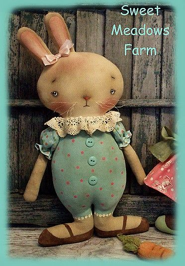 EPATTERN Primitive Basket Case Bunny Doll by SweetMeadowsFarm