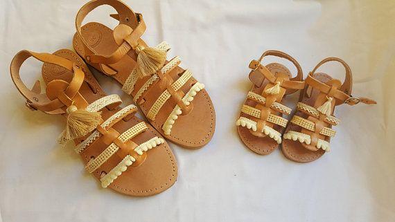 Boho Gladiator Sandals, Greek Sandals, Leather Sandals,Wedding Sandals, Bridal Sandals, Set mother and daughter sandals,