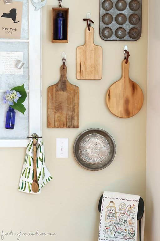 Cutting board wall art gallery by Finding Home Online featured on FunkyJunkInteriors.net