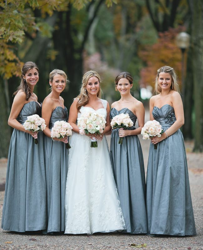 BUT SHORTER DRESSES!-Fall wedding bridesmaids color... Love it but with fall colored flowers