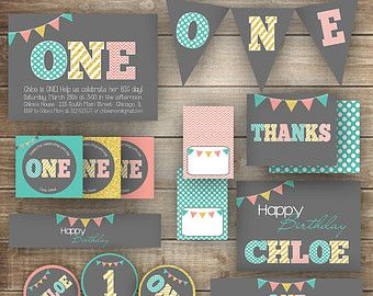 First Birthday Party Girl's 1st Birthday Party Package by OandD