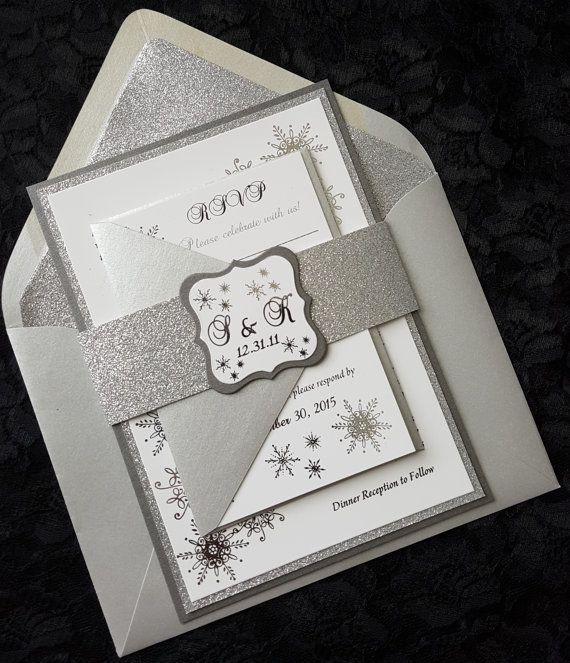 Silver Foil Wedding Invitation, Winter Wonderland Invitation, Snowflake Invitation, Elegant Wedding Invitation, Foil Wedding Invitation