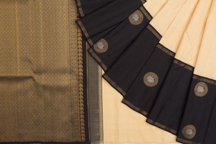 Kanchipuram Silk Plain Cream Saree