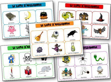Loto d'Halloween à imprimer pour apprendre le lexique lié à la fête d'Halloween, sorcière, fantôme, vampire et autres petites bêtes qui font peur. Loto halloween maternelle. Loto Halloween à imprimer.