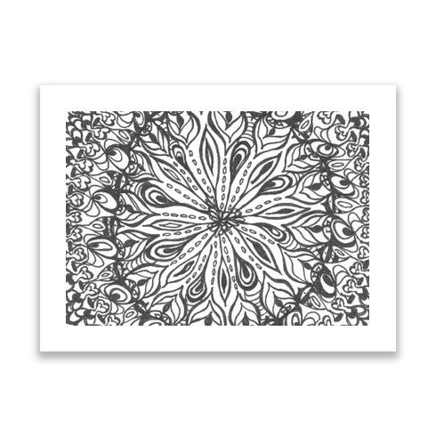 Mandala drawing bw Print by lyricalsixties at zippi.co.uk