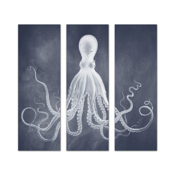 Octopus Triptych, Marine Blue Acid Wash, Octopus Print Set, Posters, Lord Bodner Triptych Octopus Wall Art, Large Nautical Art, Kraken Print