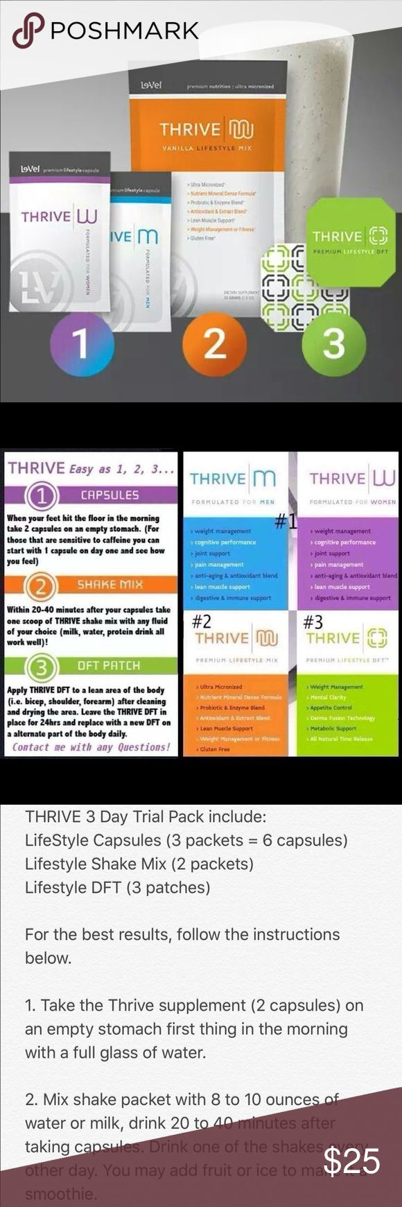Le-vel THRIVE 3 day trial THRIVE 3 Day Trial Pack include: LifeStyle Capsules (3 packets = 6 capsules) Lifestyle Shake Mix (2 packets) Lifestyle DFT (3 patches) https://reinaldobonilla.le-vel.com reinaldo.thrivelevel@gmail.com contact me for more information on the product! #IAMLEVEL Le-vel Other