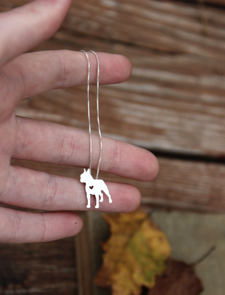 Boston Terrier necklace sterling silver hand by justplainsimple, $45.00