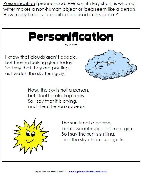 Personification Personification Poems, Writing Worksheets, Reading Ela ...