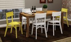 Conjunto para Sala de Jantar com Mesa e 6 Cadeiras Nogueira/Branco/Amarelo - Caaza