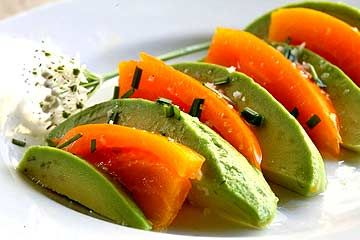 Avocado Salad with Heirloom Tomatoes ~ Beautiful avocado tomato salad with sliced avocados and colorful heirloom tomatoes. ~ SimplyRecipes.com