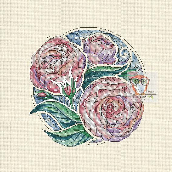 Peonies Botanica  Who doesn't love peonies? Another great flower cross stitch patten to decorate your wall or a pillow, maybe? The floral emrboidery series is worth to stop by!  #peony #flower #pink #peonies #bright #violet #crossstitch #round #embroidery #modern #crossstitching #flora #l #pdf #pattern #SmartCrossStitch