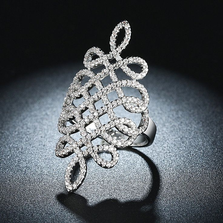 Platinum Plated CZ Cocktail Ring Luxury wedding rings