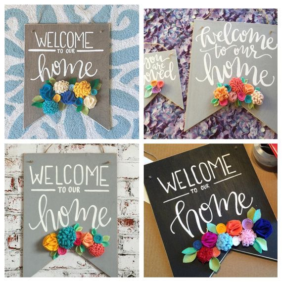 Welcome to our Home Sign, Felt Flower Signs, Wooden Welcome Sign, banner sign, wooden banner, Wood Wall Art, door sign, large banner sign
