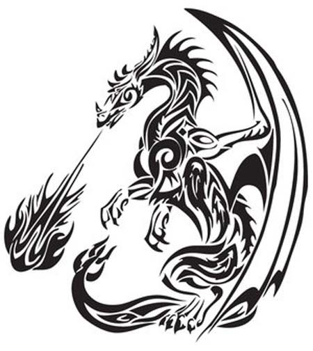 TATTOOS: Dragon Tattoo Stencils # 2