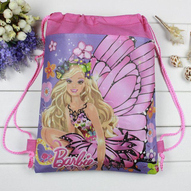 12pcs/lot school bag birthday gift mochila drawstring bag for girls kids cartoon elsa frozen non-woven fabric backpack mochila