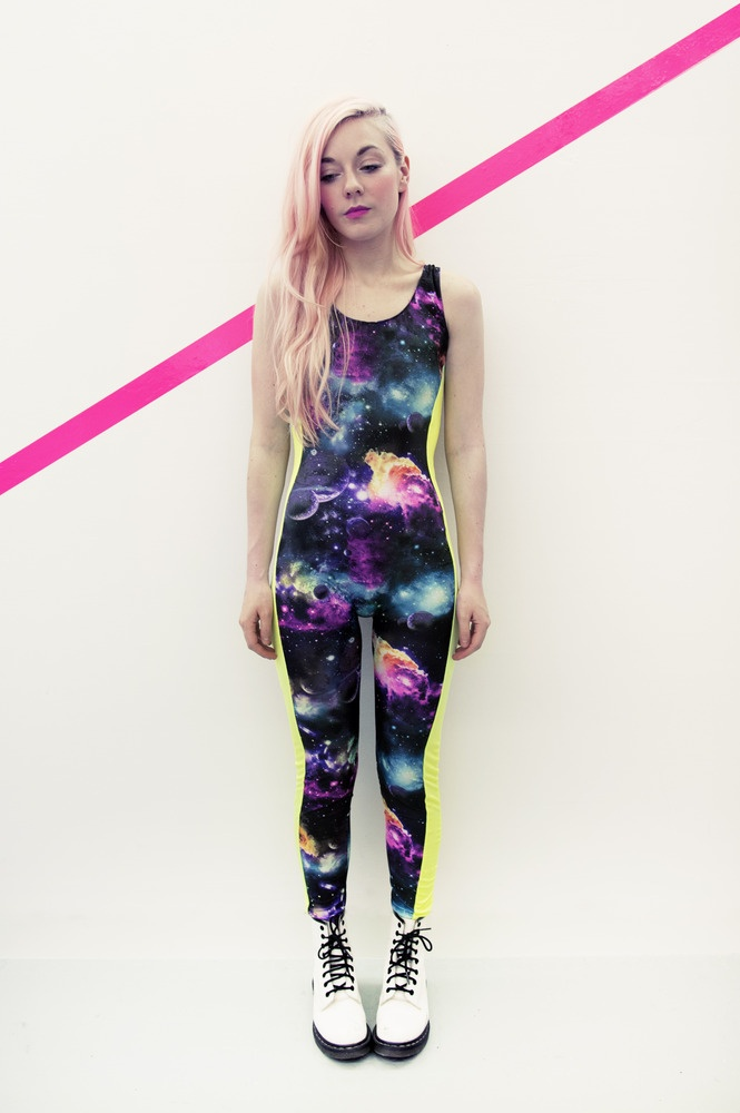 Sleeveless Galaxy print striped spandex bodysuit with flourescent yellow inlays. Made to order. (*Please allow 7 to 14 days for production and delivery)