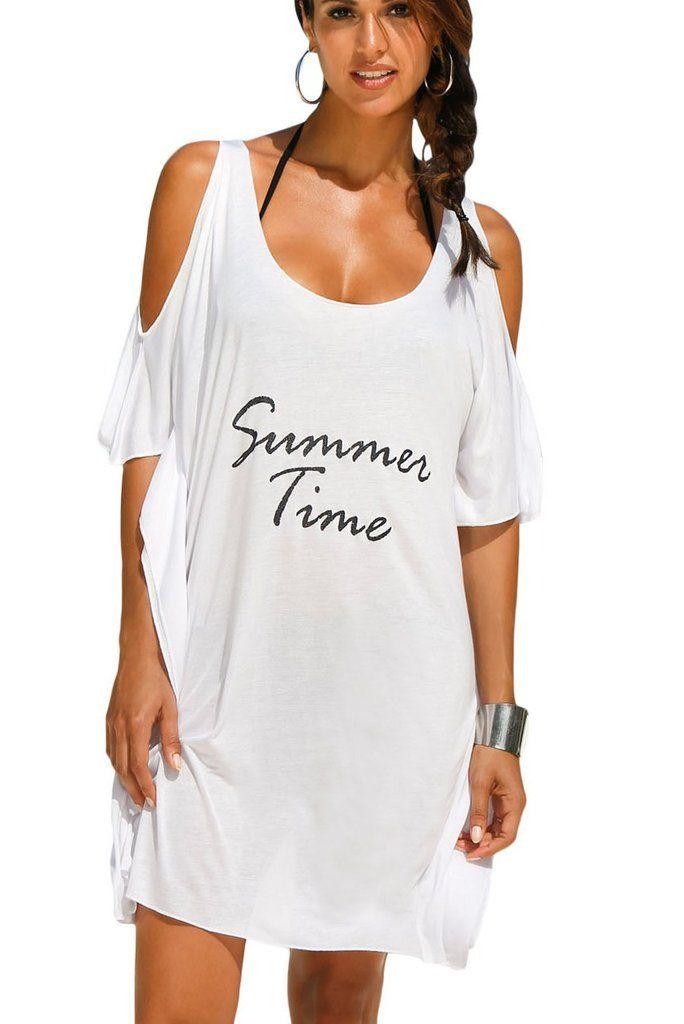 Robe Plage T-Shirt Heure D'ete Blanc Epaule Froide Decontracte MB42123-1 – Modebuy.com