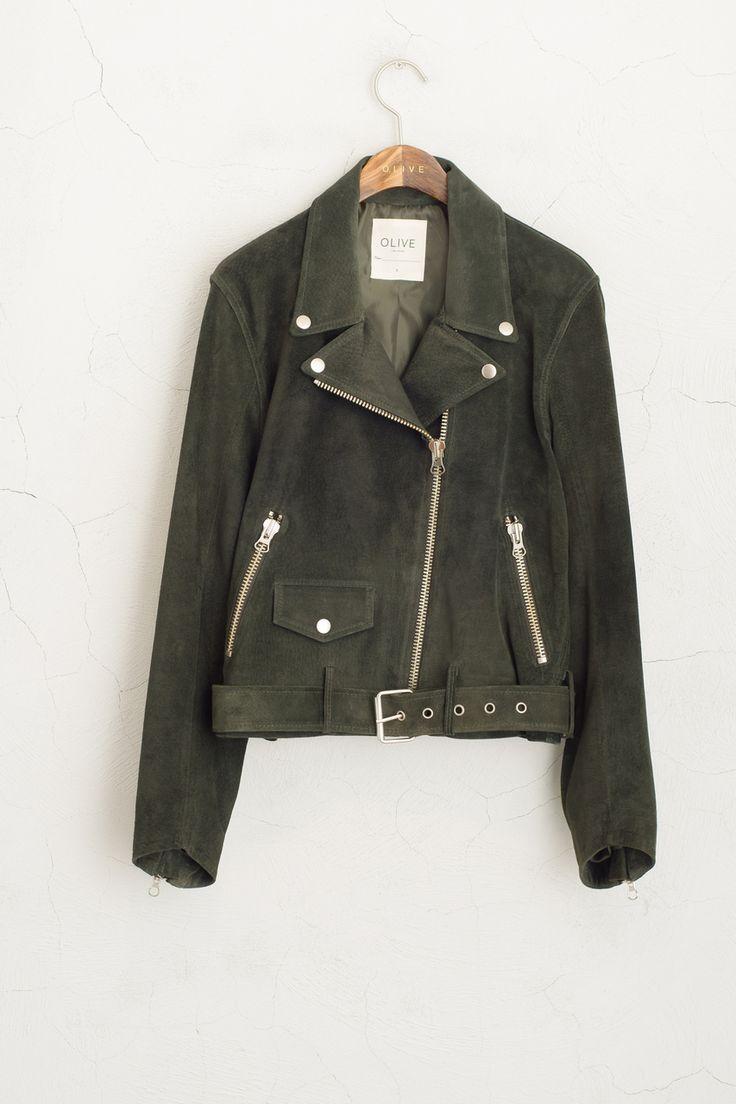 Olive - Suede Rider Jacket, Khaki, £219.00 (http://www.oliveclothing.com/p-oliveunique-20150916-100-khaki-suede-rider-jacket-khaki)
