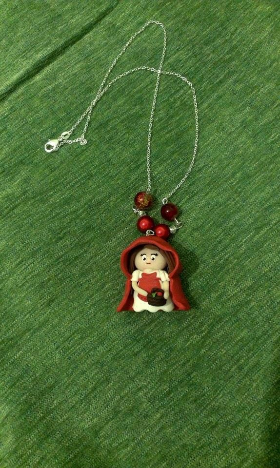 polymer clay red riding hood necklace https://www.facebook.com/ClayMiniGifts/