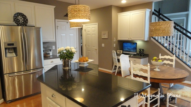 Kitchen redo with white painted cabinets and tile backplash  Kitchens