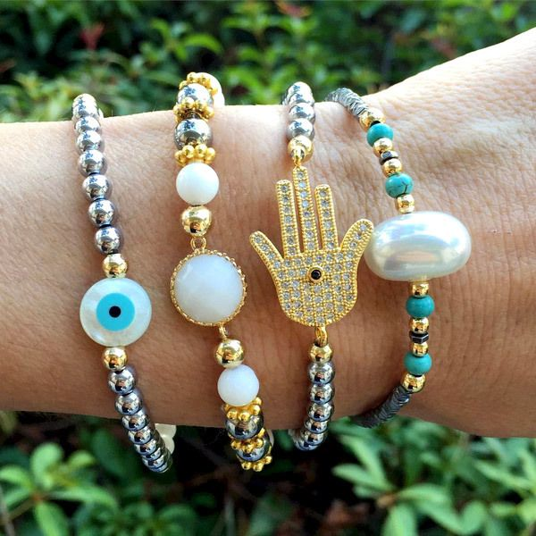 Set By Vila Veloni Silver And Turquoise Protection Bracelets