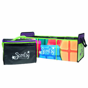 NEW Scentsy Go Anywhere Cargo Tote! Whether getting groceries or getting ready for a party, the colorful Scentsy Go Anywhere Tote makes it easy to stay organized. The three-compartment tote includes a removable insulated tote perfect for storing and protecting your fragrance testers. Your Hosts can't help but notice how easy it is to set up a party when you roll in with this!
