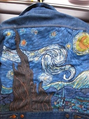 I love Van Gogh, since i recently found Im distantly related to him ive been obssesed with trying to recreate some of his pieces. I hand painted this on the back of a denim jacket, i love how it turned out.