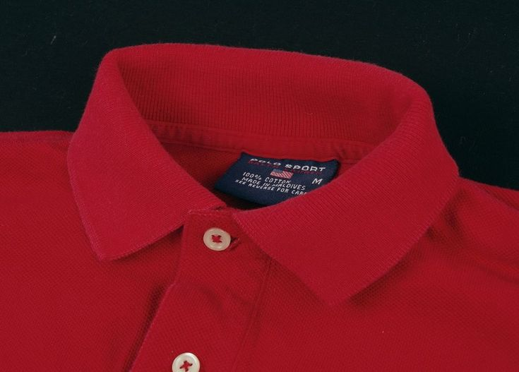 Vintage POLO SPORT RALPH LAUREN Spell-Out Cherry Red Cotton Flag Polo Shirt M #PoloSport #PoloRugby
