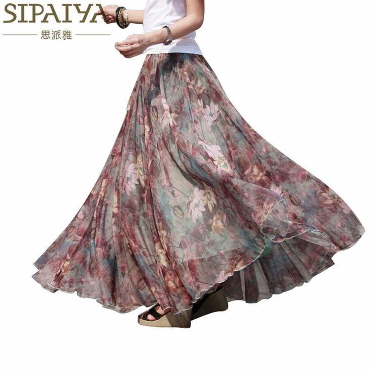 31.72$  Watch here - Pleated chiffon maxi skirt 2017 summer ankle-length bohemian floral print long skirts womens vintage saia longa   #magazineonlinewebsite