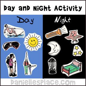 Day and Night Activity for Creation Lesson from www.daniellesplace.com