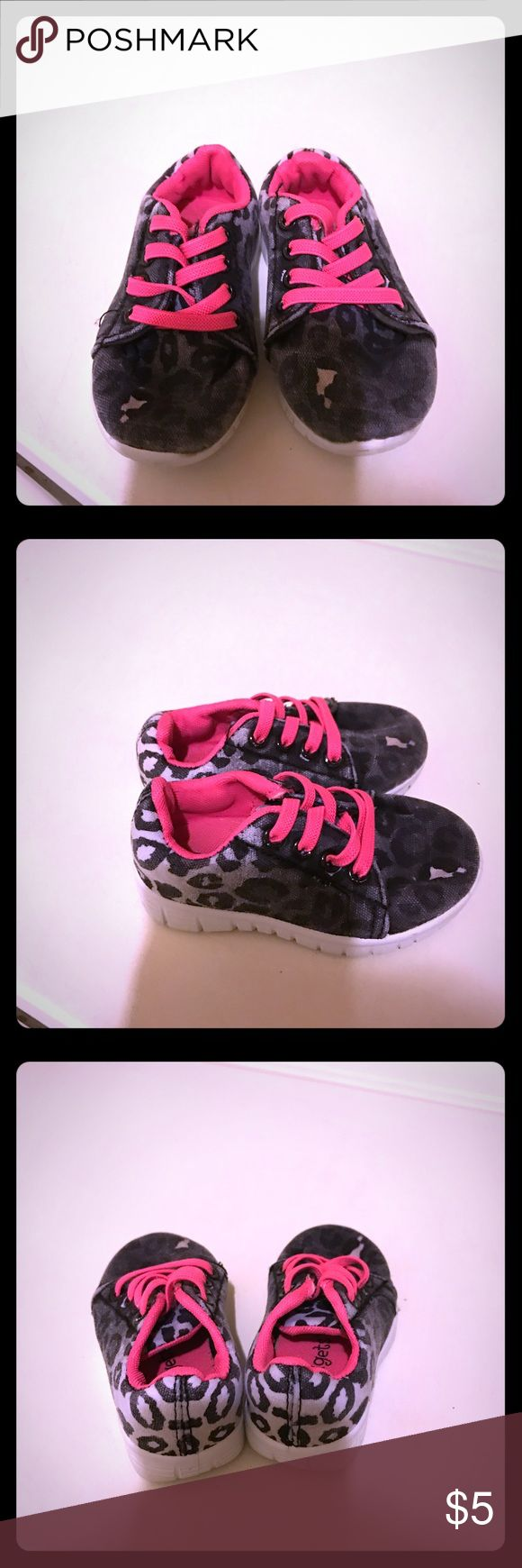 Cutest black, white, and hot pink cheetah shoes Cutest black, white, and hot pink cheetah print shoes infant/baby hard bottom size 5C kidget Shoes