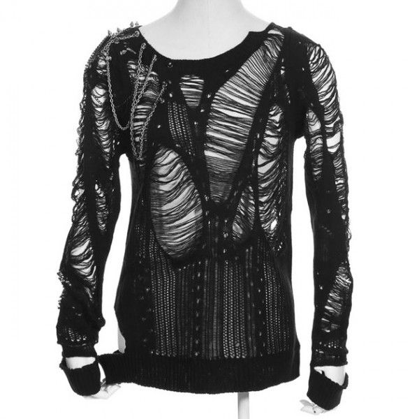 Destroyed women's cardigan by gothic clothing brand RQ-BL, made from black knitted fabric, with large holes and distressed fabric.