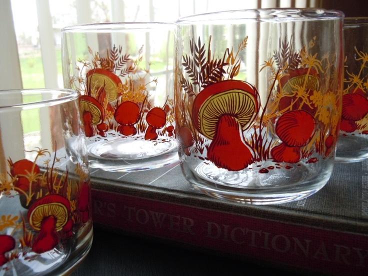 Vintage Mushroom Anchor Juice Glasses - Set of 4