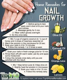 Natural Home Remedies for Nail Growth. Use these top10 home remedies to grow your nails, fast and strong. #nails #top10homeremedies