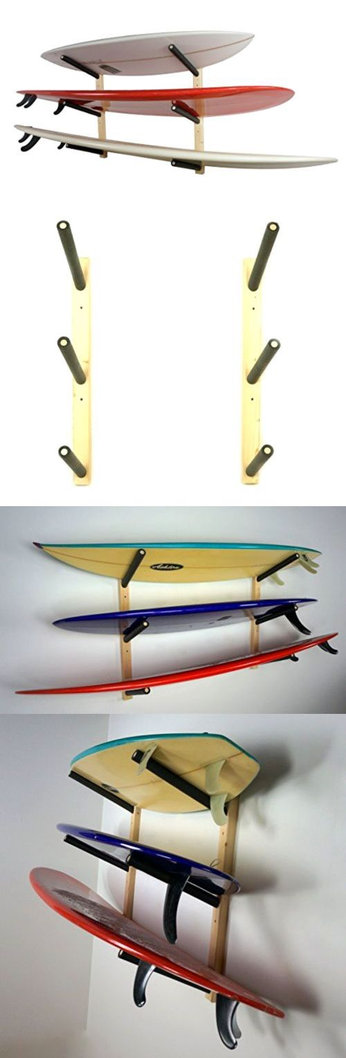 Storage and Display Racks 159164: Surfboard Wall Rack | Basic Wood Surf Rack | 3 Boards | Storeyourboard Brand New BUY IT NOW ONLY: $62.56