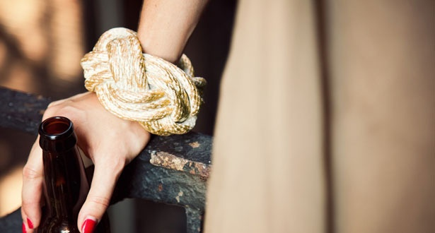 Gold Rope: Fashion Fave, Cuffs Bracelets, Gold Leaf Ropes, Accessories Mad, Ropes Bracelets, Design Naut Inspiration, Bridesmaid Dresses, Ropes Cuffs, Gold Ropes