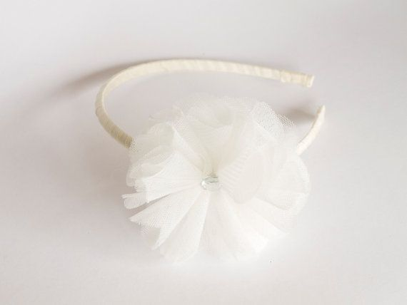 Ivory Tulle Head band Flowergirl headband communion head piece fairy hair band on Etsy, $13.91