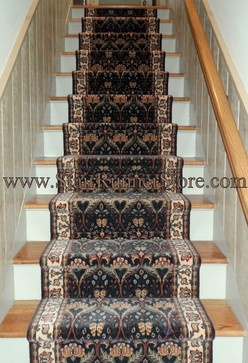 Stair Runner In A William Morris Pattern At Home Alongside The Finest Rugs,  Straight Stair