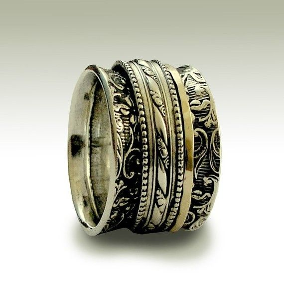 Sterling silver stacking band with silver and gold spinners - In my heart.