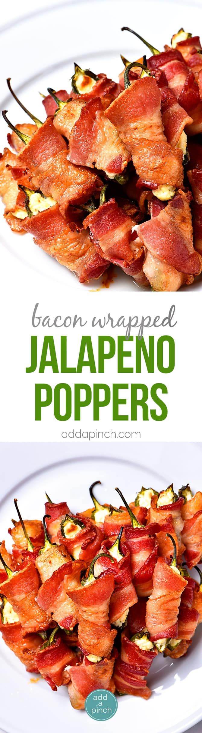 Bacon Wrapped Jalapeno Poppers Recipe - Bacon Wrapped Jalapeno Poppers make an appetizer that everyone loves! This easy recipe combines creamy cheeses, spicy jalapenos and crispy bacon for classic baked jalapeno poppers that are irresistible! // addapinch.com