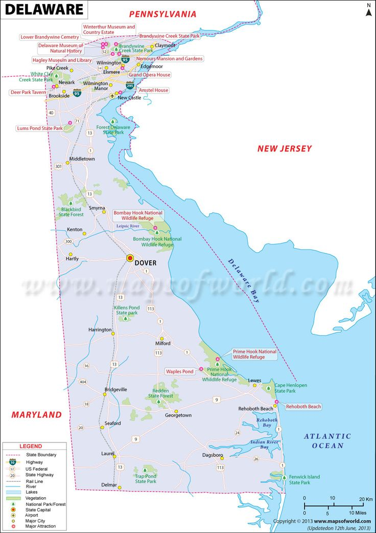 Delaware map showing the major travel attractions