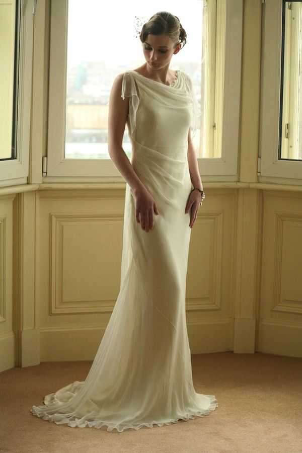 1930s Style Silk Wedding Dress || Natalia Misslin  at art-deco-weddings.com
