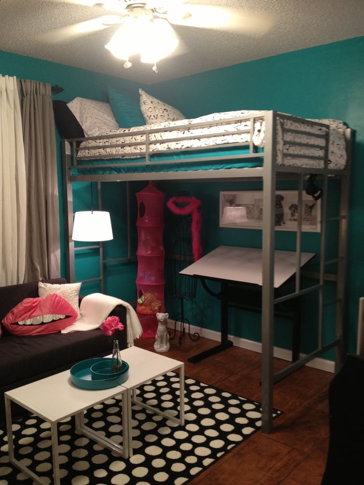 Teen room tween room bedroom idea loft bed black and for Black white turquoise bedroom ideas