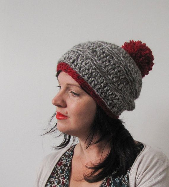 Gray and Red Crocheted Pompom Slouch Hat for Winter Made by Faite, $25.00