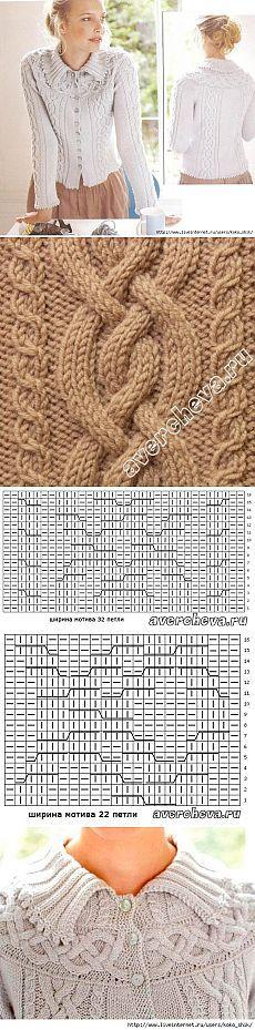Чудесная кофточка спицами с описанием и схемами узоров
